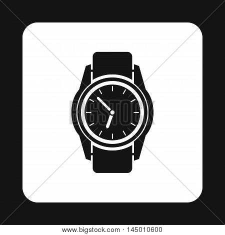 Wrist watch icon in simple style isolated on white background. Time symbol