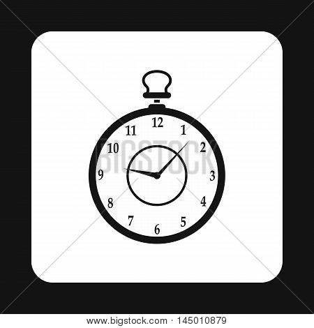 Pocket watch icon in simple style isolated on white background. Time symbol