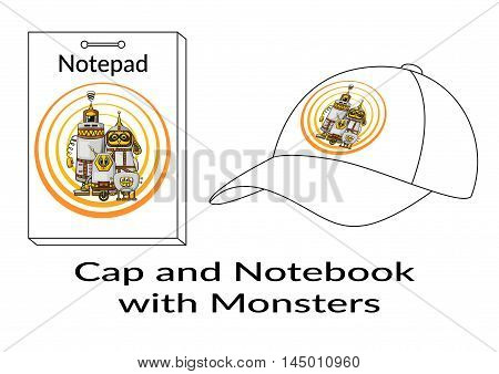 Group of Cartoon Characters, Different Robots Monsters, Elements for your Design, Prints and Banners, Presented in Sample Forms, Notebook and Cap, Isolated on White Background. Vector