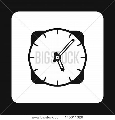 Wall mounted round clock icon in simple style isolated on white background. Time symbol