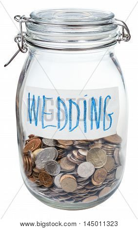 Saved Coins For Wedding In Closed Glass Jar