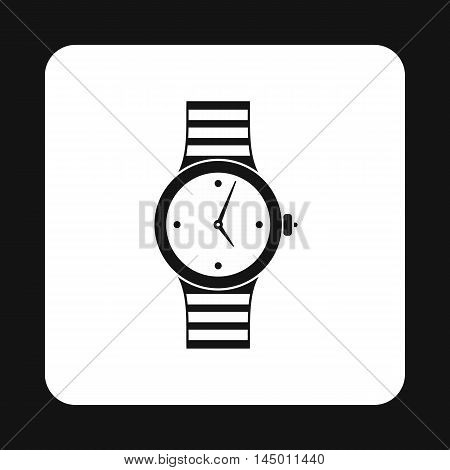Wrist womens watch icon in simple style isolated on white background. Time symbol