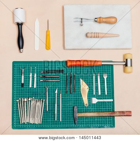 Above View Of Various Tools For Leatherwork