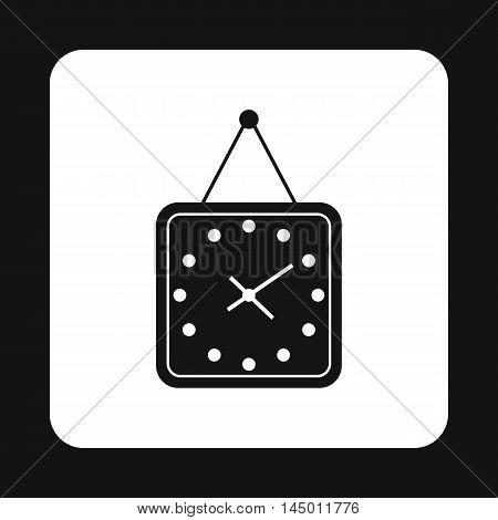 Square wall clock icon in simple style isolated on white background. Time symbol