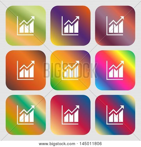 Growing Bar Chart Icon . Nine Buttons With Bright Gradients For Beautiful Design. Vector