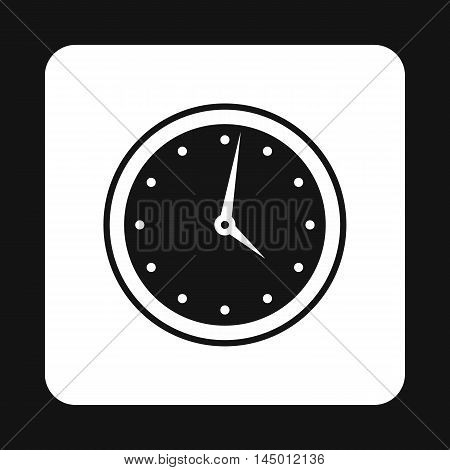 Wall mounted round mechanical watch icon in simple style isolated on white background. Time symbol