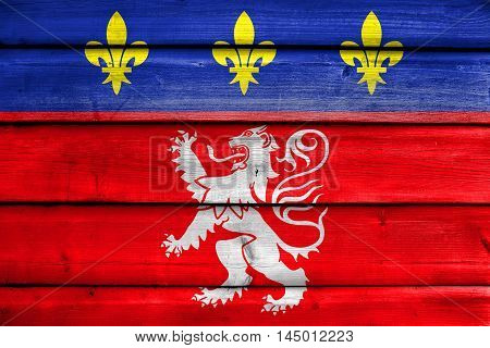 Flag Of Lyonnais, France, Painted On Old Wood Plank Background