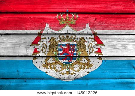 Flag Of Luxembourg With Coat Of Arms, Painted On Old Wood Plank Background