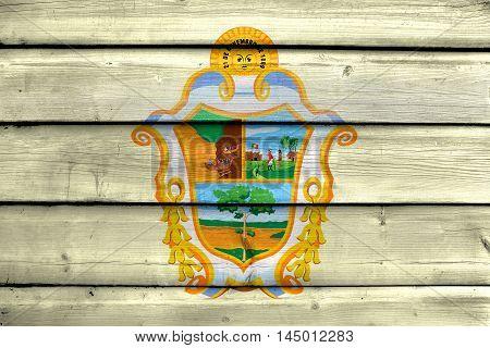 Flag Of Manaus, Amazonas, Brazil, Painted On Old Wood Plank Background