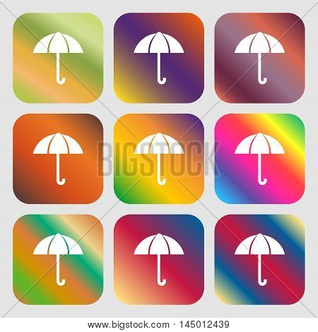 Umbrella Sign Icon. Rain Protection Symbol . Nine Buttons With Bright Gradients For Beautiful Design