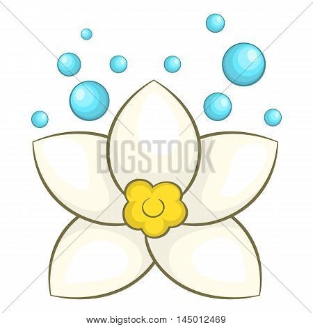 White lotus flower icon in cartoon style on a white background