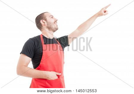 Friendly Hypermarket Employee Pointing Up