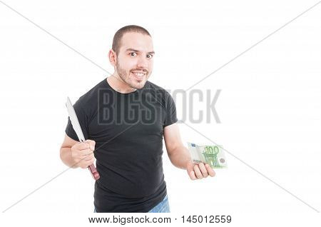 Crazy Male With Sharp Knife And Money