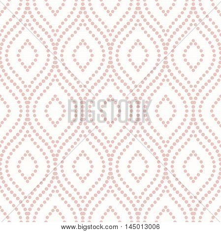 Seamless vector pink ornament. Modern geometric pattern with repeating dotted elements