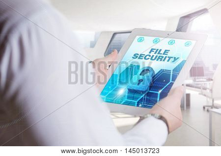 Business, Technology, Internet And Network Concept. Young Business Man, Working On The Tablet Of The