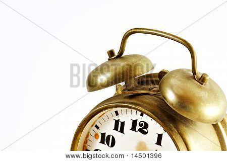 Detail Of Old Vintage Gold Alarm Clock