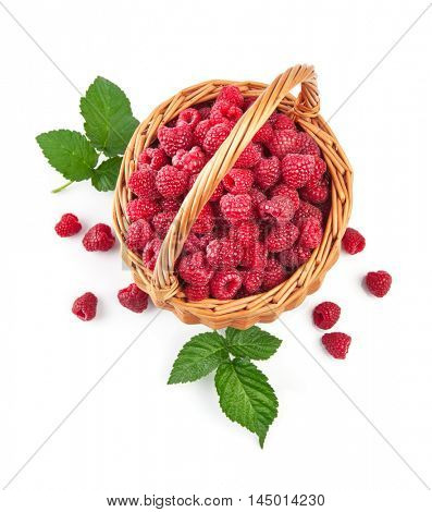 Fresh raspberries in wicker basket with green leaves. Isolated on white background