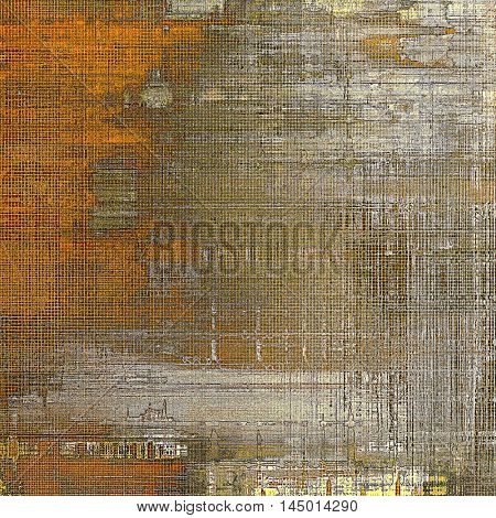 Art grunge background or vintage style texture with retro graphic elements and different color patterns: gray; red (orange); yellow (beige); brown