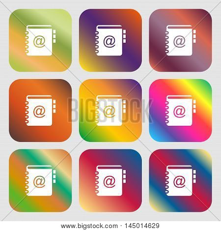 Notebook, Address, Phone Book Icon . Nine Buttons With Bright Gradients For Beautiful Design. Vector