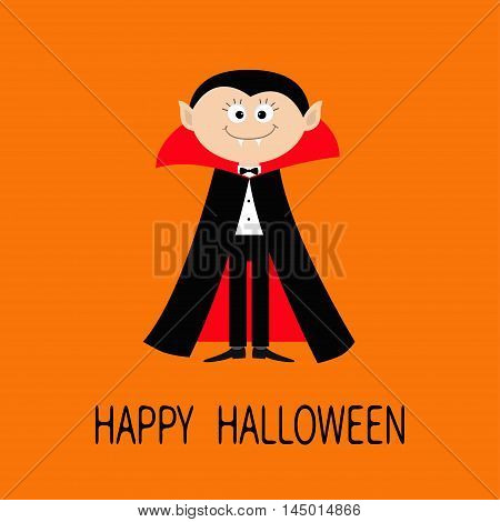 Count Dracula wearing black and red cape. Cute cartoon vampire character with fangs. Happy Halloween. Flat design. Orange background. Vector illustration