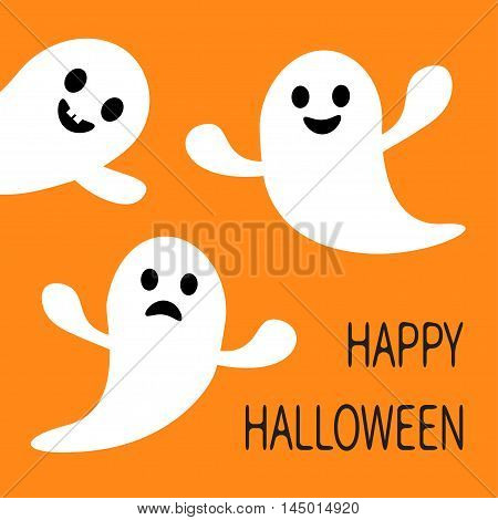 Funny flying ghost. Smiling and sad face with tooth. Happy Halloween. Greeting card. Cute cartoon character. Scary spirit. Baby collection. Orange background. Flat design. Vector illustration
