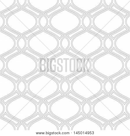 Seamless vector ornament. Modern geometric pattern with repeating silevr wavy lines