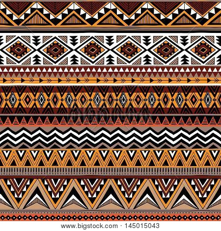 Hand drawn vector design. Seamless retro colorl pattern in tribal navajo style. Traditional ethnic folk motif. Aztec vector background. Abstract geometric art print. Textile design fabric