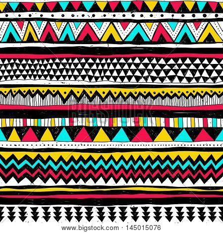 Hand drawn vector design. Seamless multicolor pattern in tribal navajo style. Traditional ethnic folk motif. Aztec vector background. Abstract geometric art print. Textile design fabric