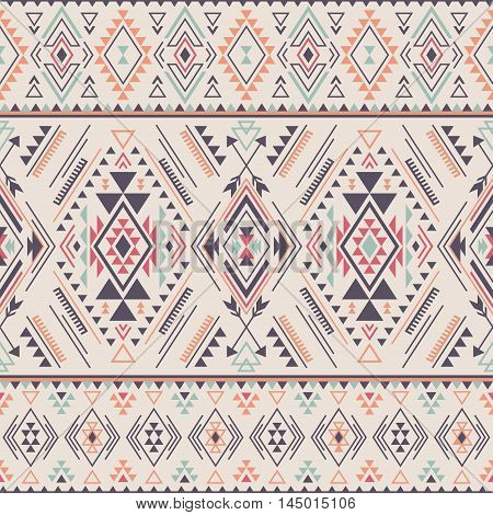 pastel multicolor tribal Navajo vector seamless pattern. aztec fancy abstract geometric art print. ethnic vector background. Wallpaper cloth design fabric paper cover textile weave wrapping.