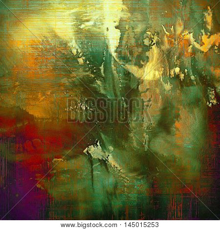 Old, grunge background or damaged texture in retro style. With different color patterns: green; red (orange); purple (violet); yellow (beige); brown; cyan