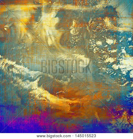 Antique frame or background with vintage feeling. Aged texture with different color patterns: blue; red (orange); purple (violet); yellow (beige); brown; cyan
