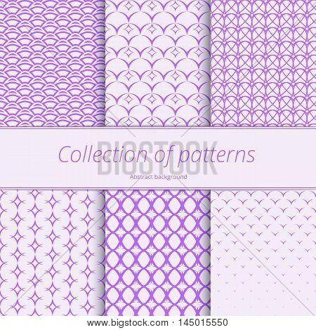 Pastel monochrome pattern. Set gentle backgrounds. Modern repeating backdrop. Simple graphic design. Vector illustration.