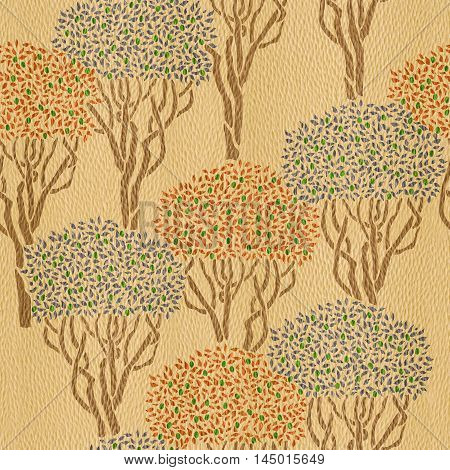 Decorative olive orchard - seamless background - Interior Design wallpaper - wall panel pattern - White Oak wood texture