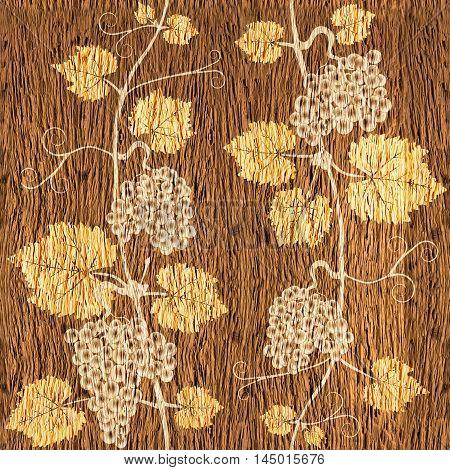 Decorative grape leaves - grape wine background - seamless background - Interior Design wallpaper - wall panel pattern - walnut wood texture
