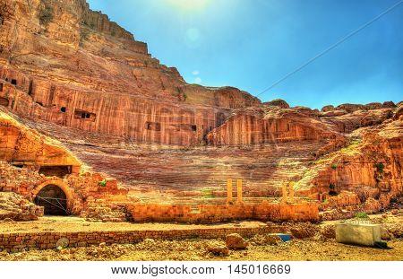 Ancient Roman Theatre in Petra - Jordan. UNESCO heritage site