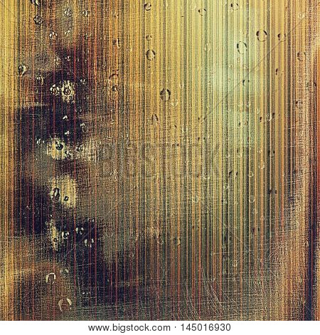 Retro background with vintage style design elements, scratched grunge texture, and different color patterns: gray; green; red (orange); purple (violet); yellow (beige); brown