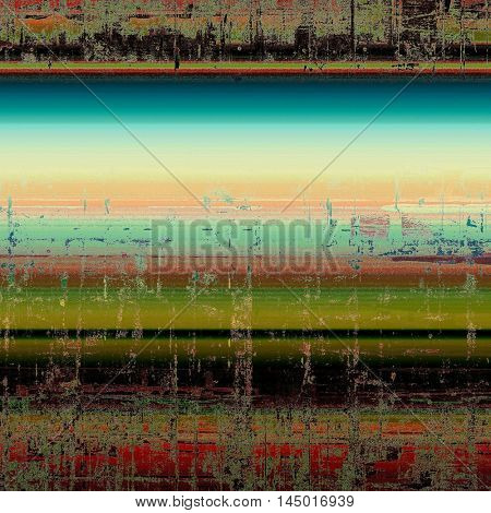 Retro background with vintage style design elements, scratched grunge texture, and different color patterns: green; blue; red (orange); yellow (beige); brown; black