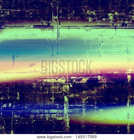 Antique frame or background with vintage feeling. Aged texture with different color patterns: green; blue; purple (violet); yellow (beige); cyan; pink