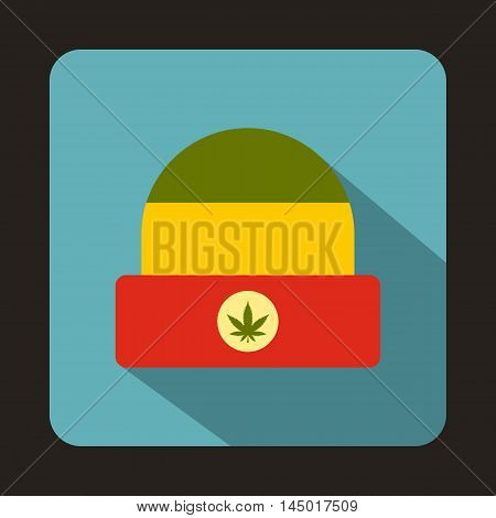 Rasta hat with marijuana leaf icon in flat style on a baby blue background