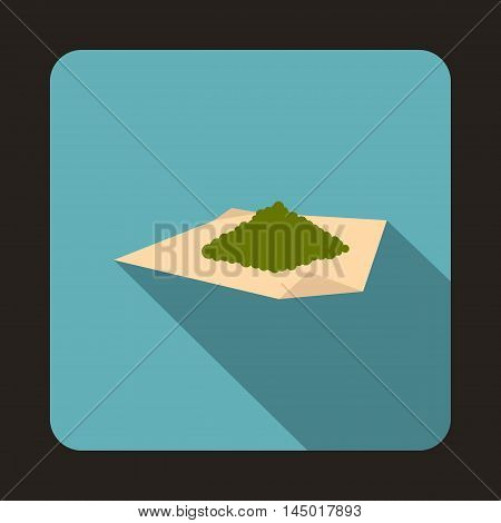 Marijuana on a paper icon in flat style on a baby blue background