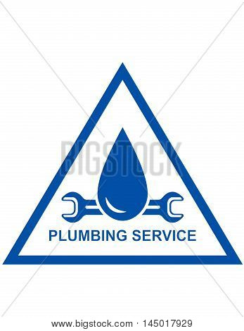 blue symbol of plumbing service with wrench and drip