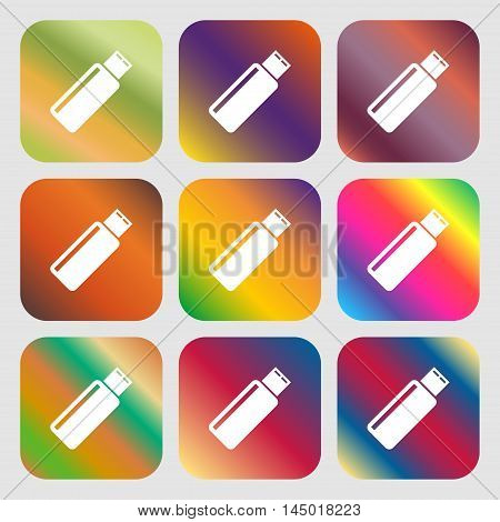 Usb Sign Icon. Flash Drive Stick Symbol . Nine Buttons With Bright Gradients For Beautiful Design. V