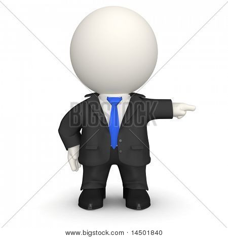 Bossy businessman in 3D - isolated over a white background