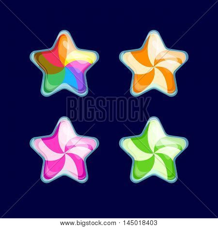 Vector illustration.Set of Cartoon different Stars.Funny cartoon colorful bubbles Candy glossy Star isolated on a dark background. Game icon.Vector design for app user interface and score display.