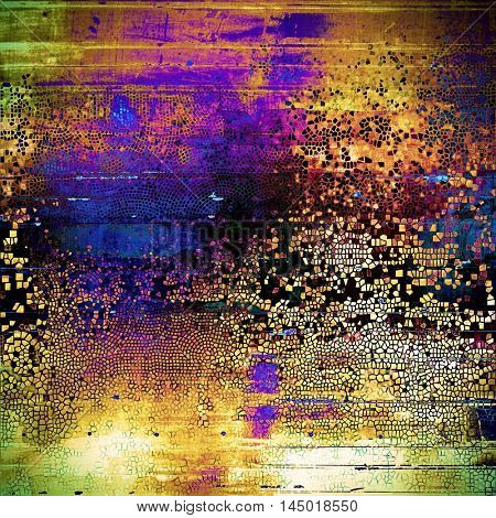Vintage background, antique grunge backdrop or scratched texture with different color patterns: green; blue; red (orange); purple (violet); yellow (beige); brown