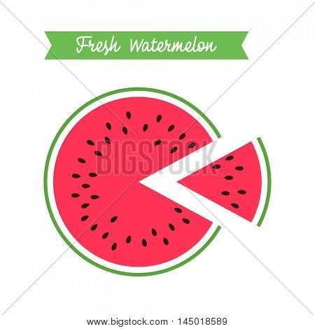 fresh watermelon logo template. cut piece of watermelon. flat style modern logotype design element vector illustration on white background
