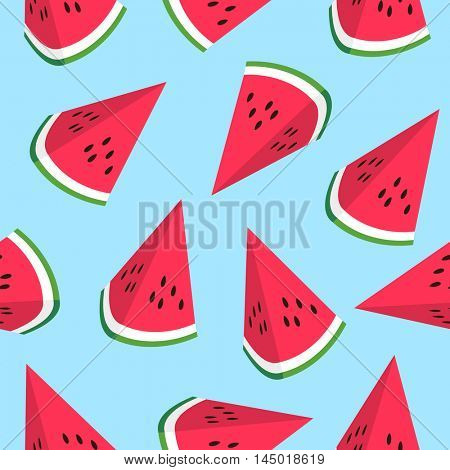 Seamless pattern with watermelon slices. watermelon slices on blue background. vector illustration