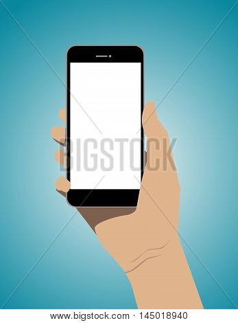 Hand Holding Mobile Smart Phone With Blank Screen. Concept Business Illustration. Vector Flat