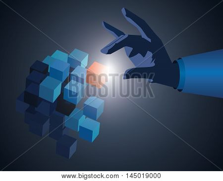 Businessman Hand Touch Cube As Symbol Of Problem Solving. Touch Red Cube. Vector