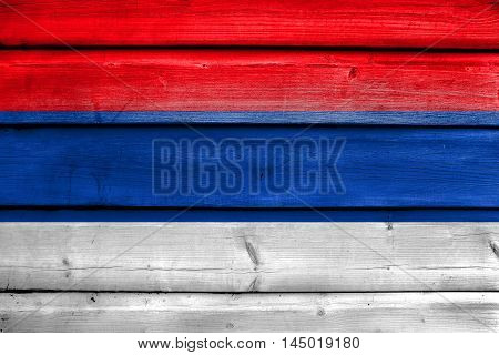 Flag Of Misiones Province, Argentina, Painted On Old Wood Plank Background